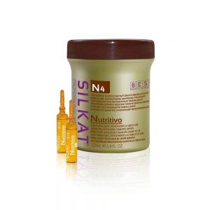 BES Silkat Ampoules Nutritivo, sérum actif à base de sels minéralisés de magnésium, cuivre, fer, zinc, enrichi en graines de lin. Restaure les fibres capillaires.