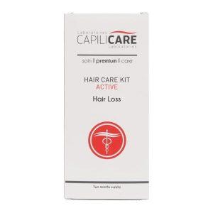 Soin Active chute de cheveux capillaire en deux étapes à été élaboré sous la supervision de chimistes chevronés. À base de capixyl, un actif reconnu cliniquement pour son efficacité à rendre les cheveux fournis tout en augmentant le volume.   Protocole pour une durée de deux mois:  *Lotion Capillaire Active 5% 100mL  *Shampoing Capillicare Active 235mL