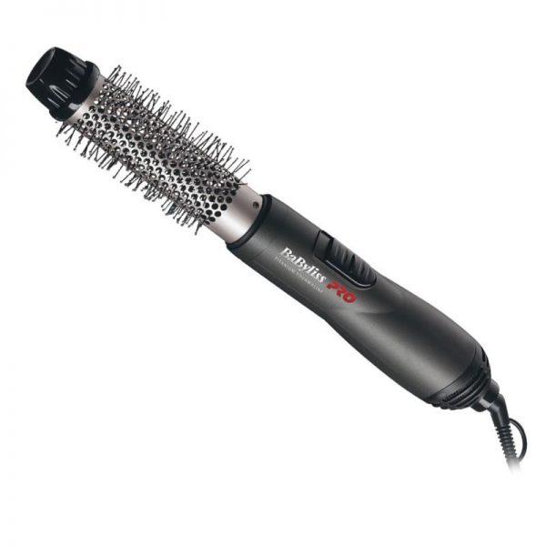 Chaud et puissant. le tube en céramique lisse et antiadhésif assure un transfert maximal de la chaleur. les poils de nylon saisissent bien les cheveux. Interrupteur à trois réglages. Embout isolant.