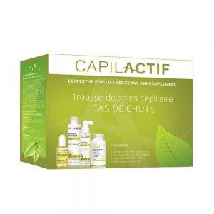 Capilactif Trousse de soins capillaire cas de chute de cheveux, contient tous les produits essentiels aux bons soins des cheveux clairsemés.