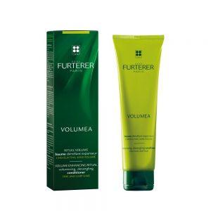 Baume expanseur VOLUMEA Rene Furterer, avec rinçage, à l'extrait naturel de caroube donne du volume et de la texture au cheveux fins. sans silicone.