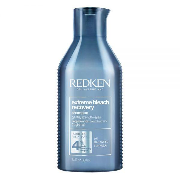 Shampoing extreme bleach recovery de Redken répare et renforce les cheveux fragilisés et décolorés, sans friction. Avec une formule de PH balancé.