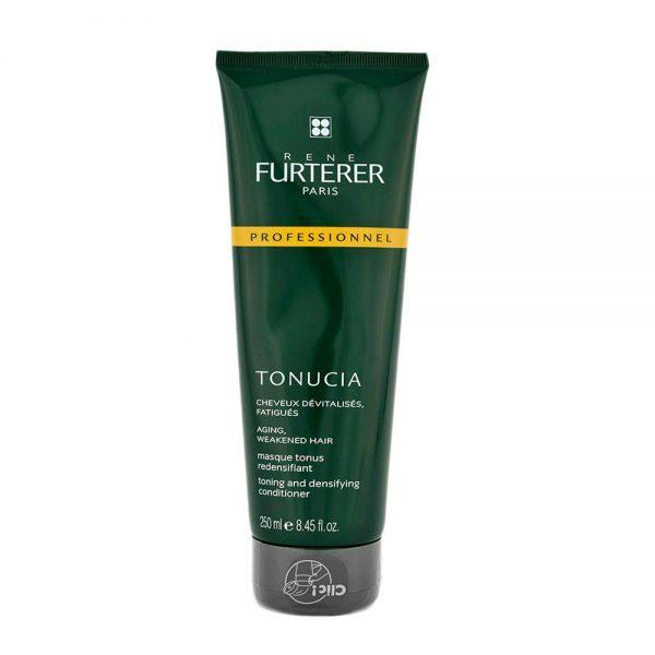 Masque tonus redensifiant TONUCIA Rene Furterer avec rinçage, effet de densité et apparence plus forte pour les cheveux dévitalisés, fatigués.