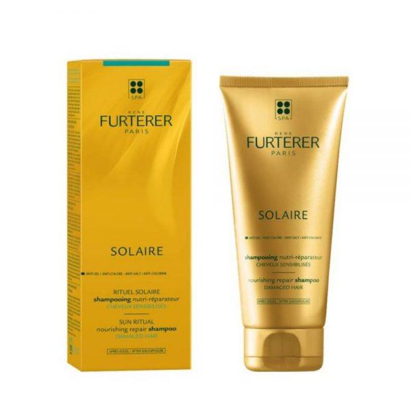 Shampoing nutri-réparateur SOLAIRE René Furterer pour cheveux sensibilisés à la cire de jojoba. Nourrit, répare et compense les effets desséchants des UV, su sel et du chlore. sa texture onctueuse procure démêlage, douceur et brillance.