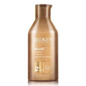 Shampoing All Soft de Redken donne de l'hydratation au cheveux secs et cassants. Avec une formule de PH balancé.