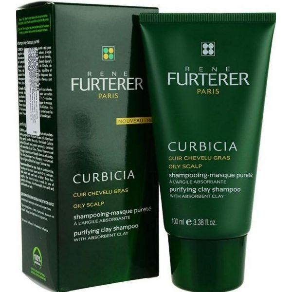 Shampoing-masque pureté CURBICIA Rene Furterer à l'argile absorbante pour les personnes ayant le cuir chevelu gras, il agit pour éliminer durablement l'excès de sébum.